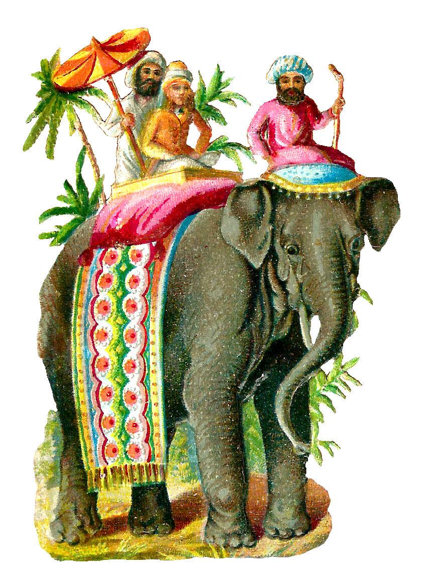 Asian Elephant Riders Digital Clip Art Vintage Animal ...
