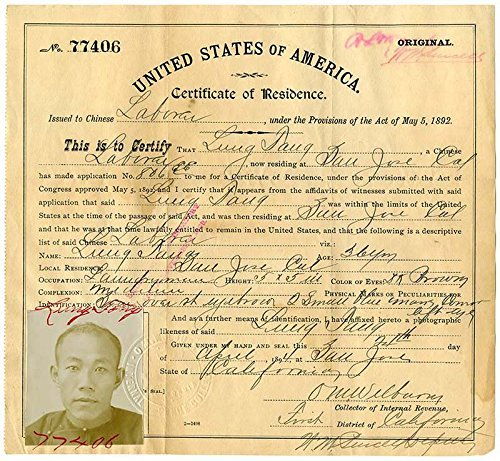 Certificate of Residence for Lung Tang, Laundryman, Age 36 Years,  of San Jose, California, April 24, 1894 Certificates of Residents for Chinese Laborers, MS 3642, California Historical Society