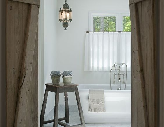 Beautiful European farmhouse decor in bathroom by Shannon Bowers on Hello Lovely Studio