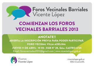 Foros Vecinales barriales en Vicente López