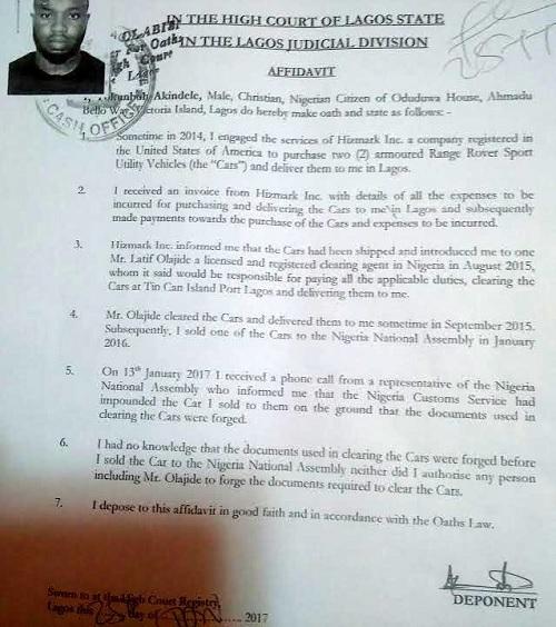 saraki suv scandal : Court ffidavit by Akindele