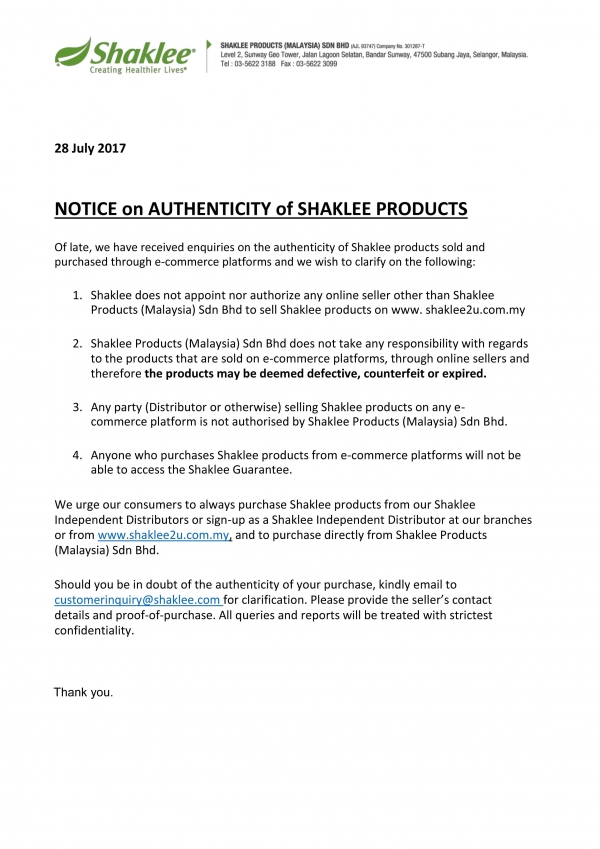 Peringatan : Jangan Beli Produk Shaklee Di E-Commerce Platform