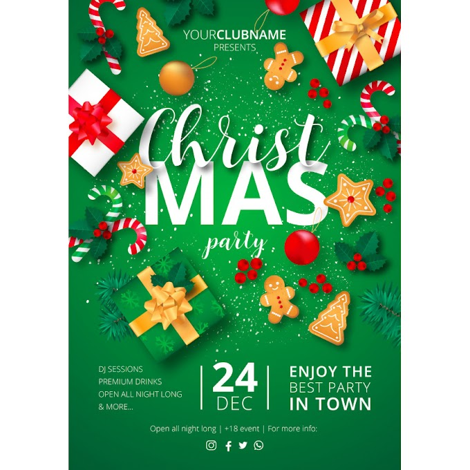 Christmas party poster ready to print Free Vector merry christmas 2019
