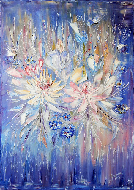 "12 Contemporary original Painting  in style abstract, handmade. Oil on  canvas, a palette knife ""Lilac Waltz of Flowers with Butterflies"". The size ~ 15.75"" х 23.6""  x 0.7"" . Buy and see Russian modern art other paintings  you may here:  http://www.etsy.com/shop/PaintingInterior This original Painting  available in a variety of printed styles  at  http://painting.artistwebsites.com/"