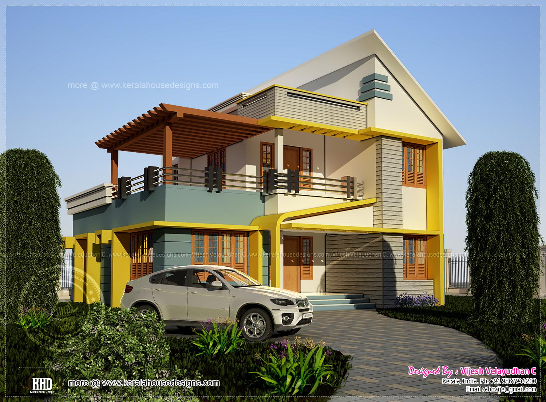 176 square meter 4 bedroom house rendering - Kerala home ...