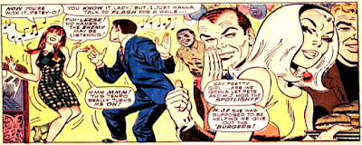 Amazing Spider-Man #47, john romita, mary jane dances with peter parker, at a party, while harry osborne and gwen stacy watch on