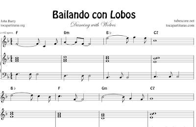 Bailando con Lobos Partitura de Piano Fácil con Acompañamiento y Acordes. Tonalidad Original en Mi bemol y Fácil en Fa M