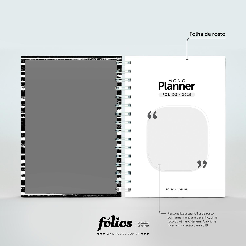 Planner 2019 Monocromático gratuito para download