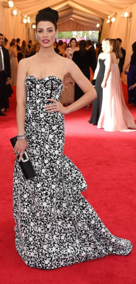 Jessica Pare in a black and white Michael Kors dress at the MET Gala 2014