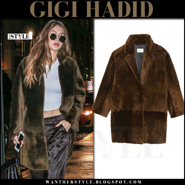 Gigi Hadid in khaki green faux fur coat sandro what she wore winter style