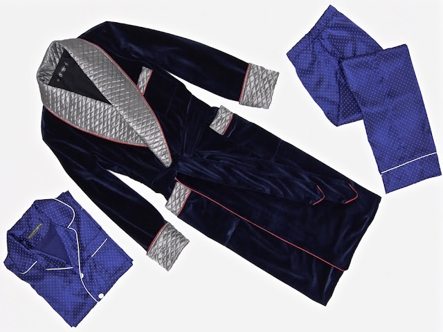 Mens blue velvet smoking robe quilted silk dressing gown long warm vintage housecoat