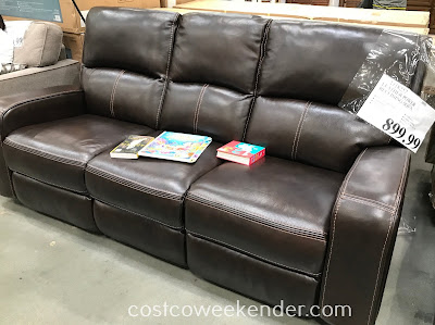 Sit, recline, or lay in comfort on the Leather Power Reclining Sofa