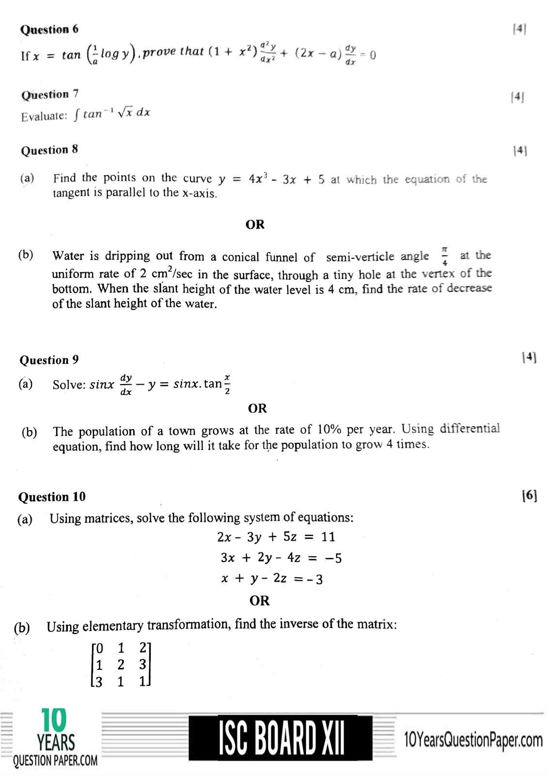 ISC Board 2018 class 12th Mathematics question paper Download PDF