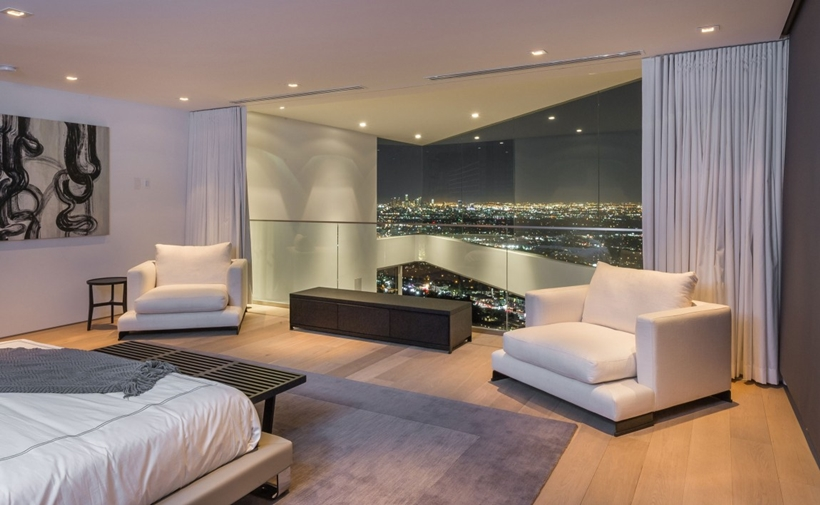 Bedroom view in Sharp modern home on Sunset Strip