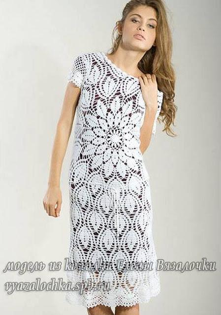 Patrón #760: Vestido Flor a Crochet