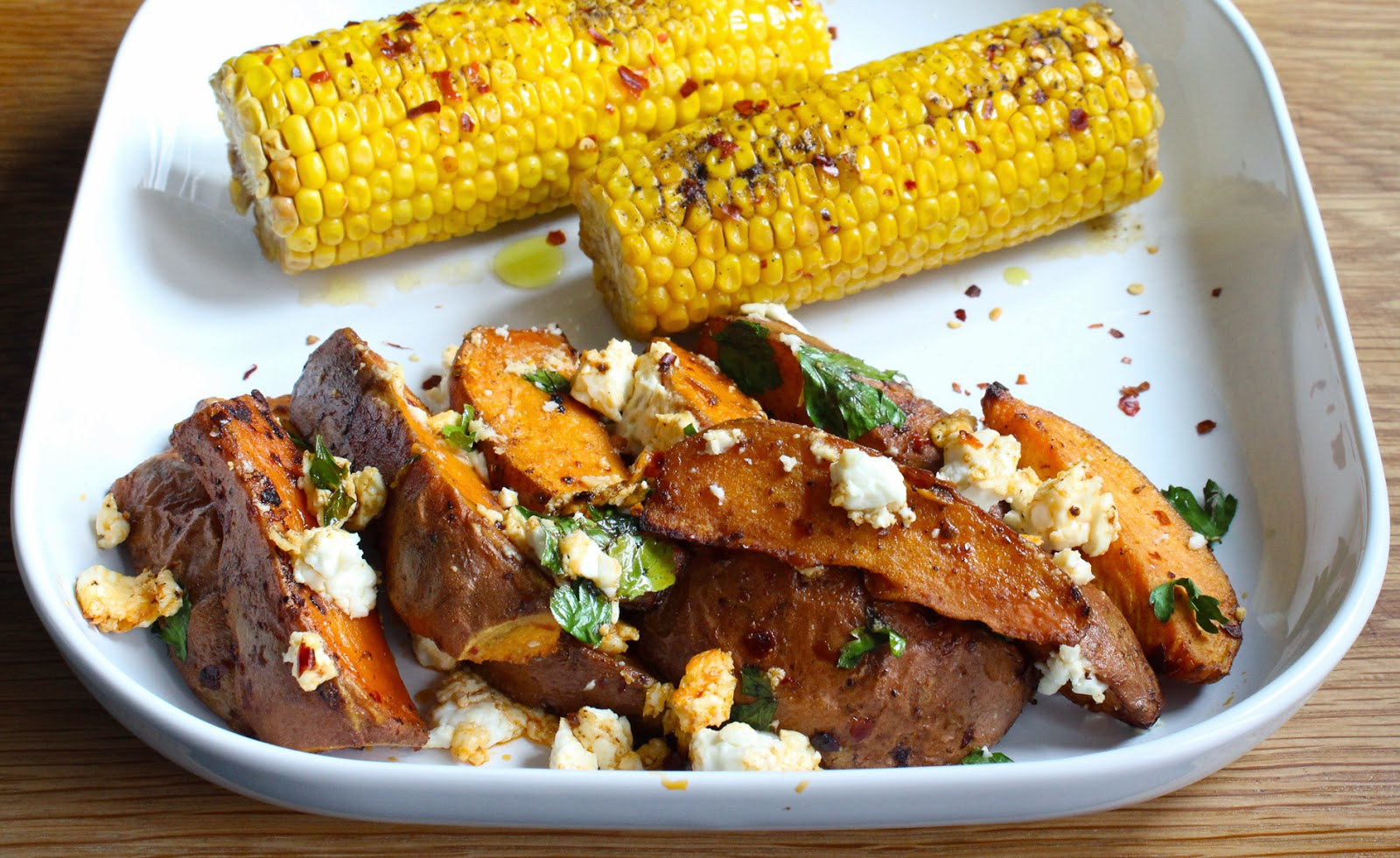 Sweet Potato Wedges with Harissa and Feta