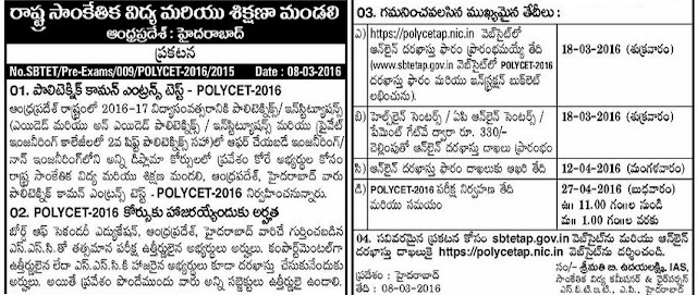 APPOLYCET,Schedule,AP Polytechnic Entrance Test