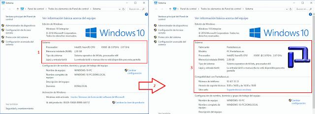 En los equipos que tengan instalada alguna de las versiones de Windows que anteriormente hemos mencionado, la información de OEM aparecerá en la ventana de información básica del Sistema.