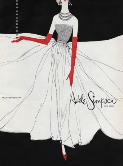 Illustration of beautiful evening gown for Adele Simpson 1957 advertisement