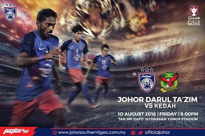 Live Streaming JDT vs Kedah Piala Malaysia 10.8.2018