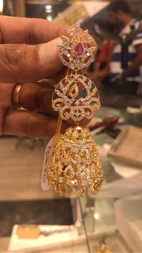 60grams Large CZ Chandbali Earrings