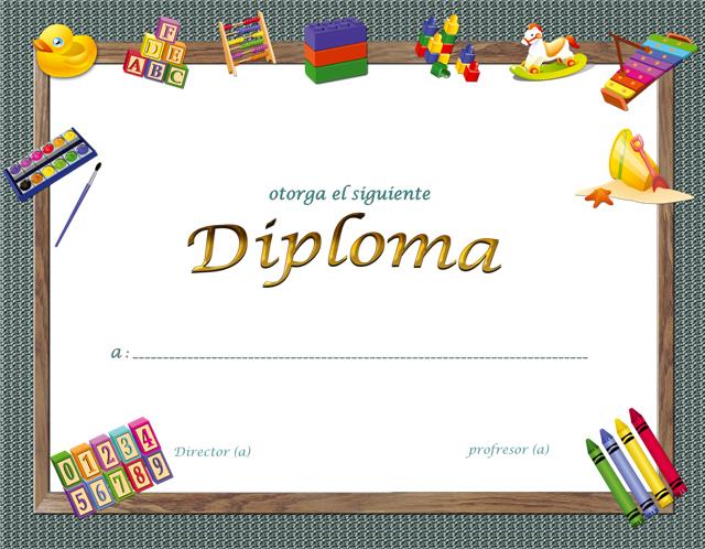 Plantillas de diplomas para parvularia y kindergarten gratis