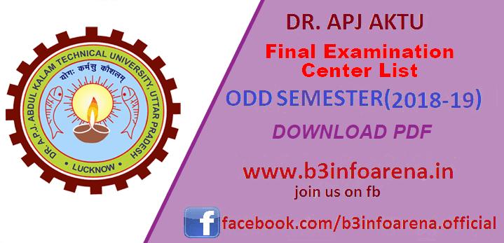 AKTU / UPTU ODD Sem 2018-19: Download Final Examination Center List for Odd Semester Examination