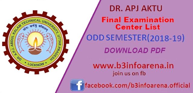 AKTU / UPTU ODD Sem 2018-19: Download Final Examination Center List for Odd Semester Examination