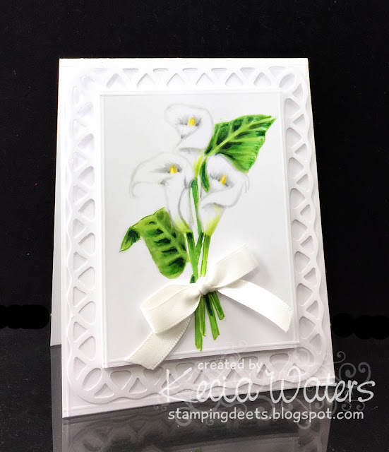 Judikins, Kecia Waters, Copic markers, no line coloring, calla lily, wedding