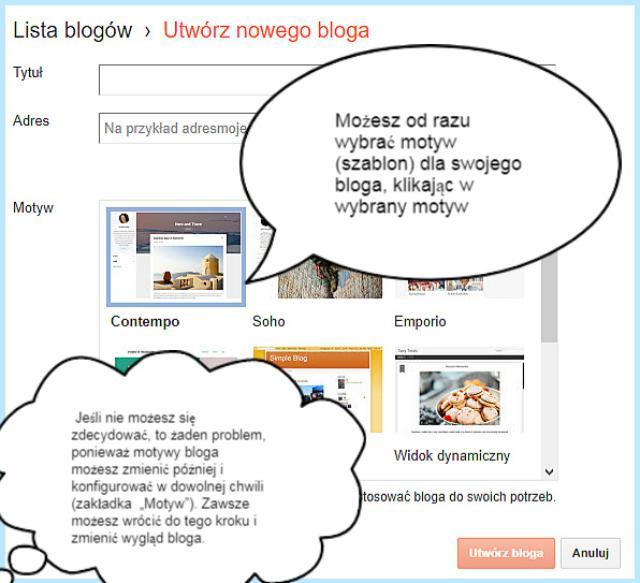 Motyw (wybór motywu, szablonu bloga) na platformie Blogger.