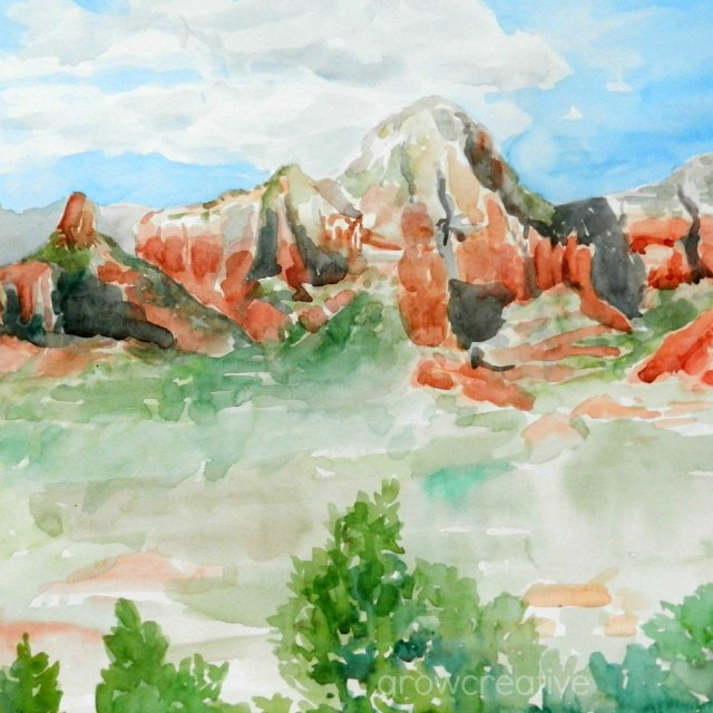 Original Watercolor Sedona Landscape by Elise Engh