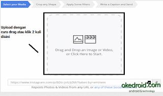 Upload foto dengan cara drag atau klik 2x
