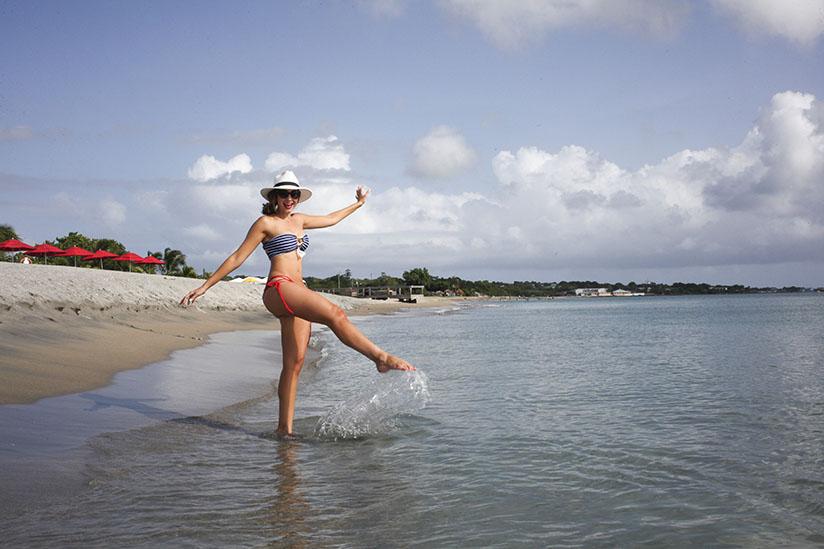 Amy West in nautical swimwear by Lisa Kaminski