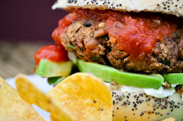 Close-up of 10 Minute Spicy Vegan Bean Burger