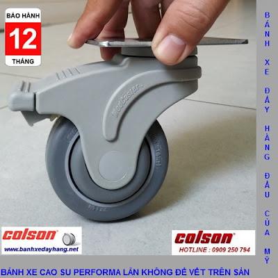 Bánh xe cao su Performa càng nhựa Colson phi 75 - 3inch chịu lực 70kg www.banhxeday.xyz