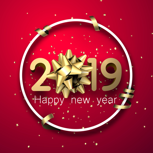 2019 new year red background with golden decor vector free vector file