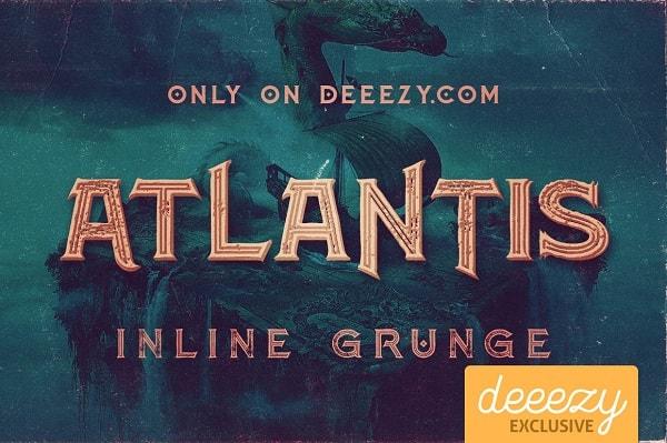 Download Font Edisi Februari 2017 - Atlantis Inline Grunge Font