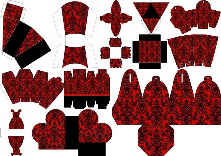 Damasco Negro En Fondo Rojo: Cajas Para Imprimir Gratis
