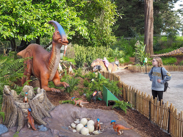 girl with parasaurolophus dinosaur