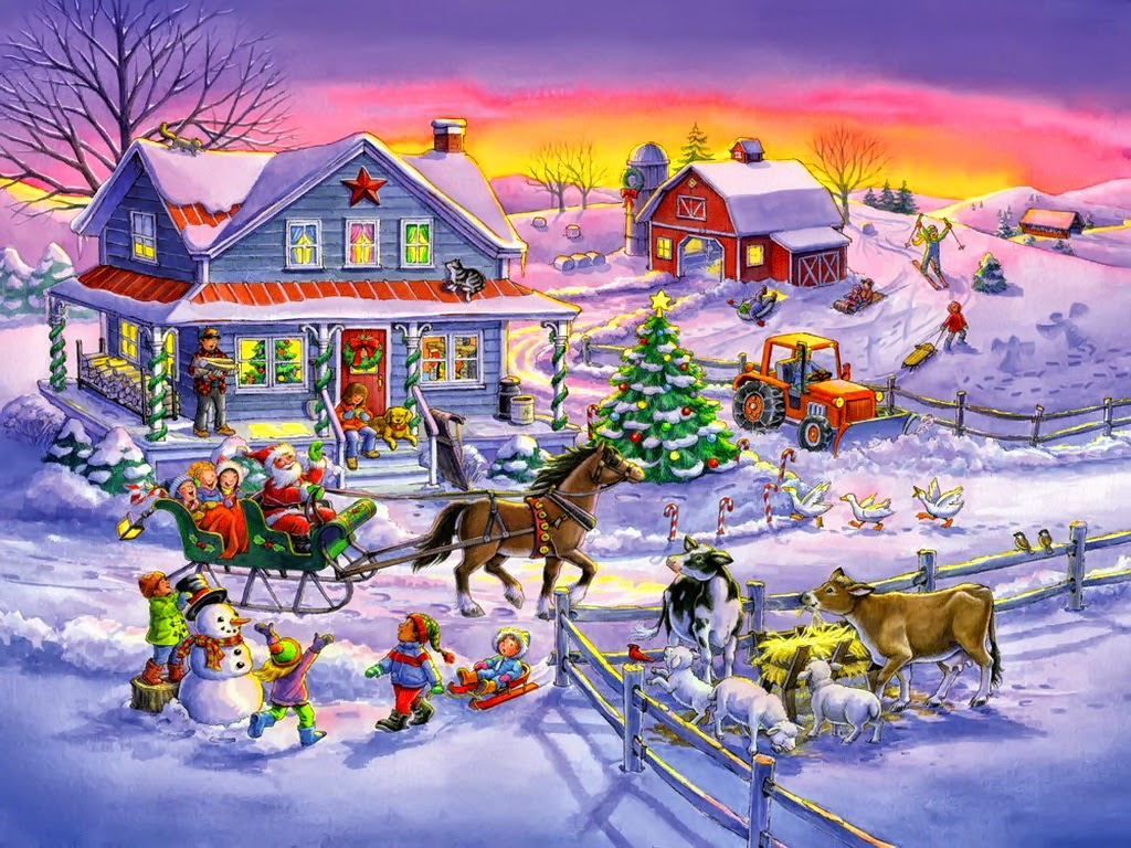 Santa-comes-to-village-farm-visit-for-kids-pets-vintage-classic-picture-painting-image.jpg