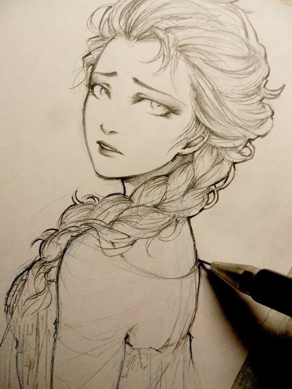 Frozen elsa doodle by lehanan aida zizingsad girl sketch cool girl standing alone