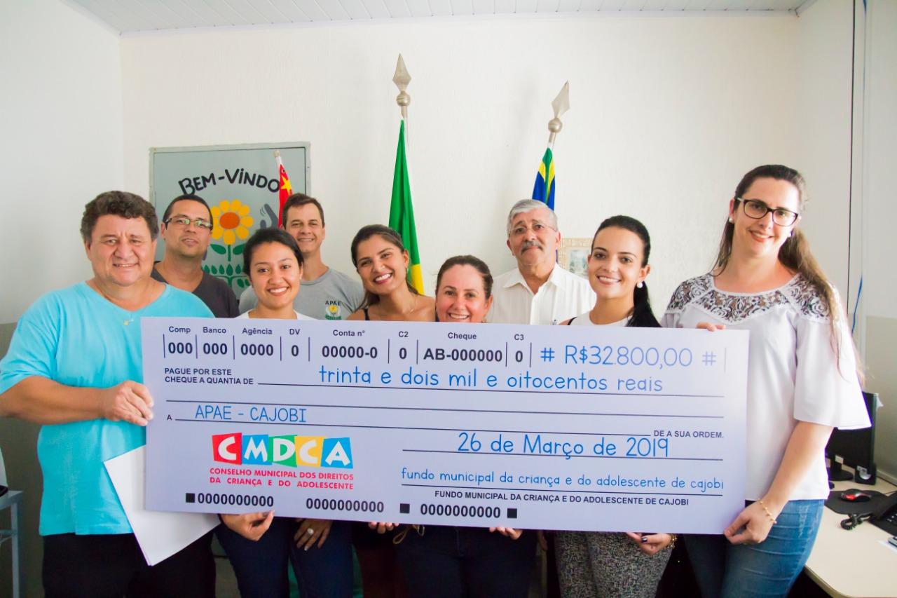 FMDCA repassa mais de R$32 mil para a Apae de Cajobi
