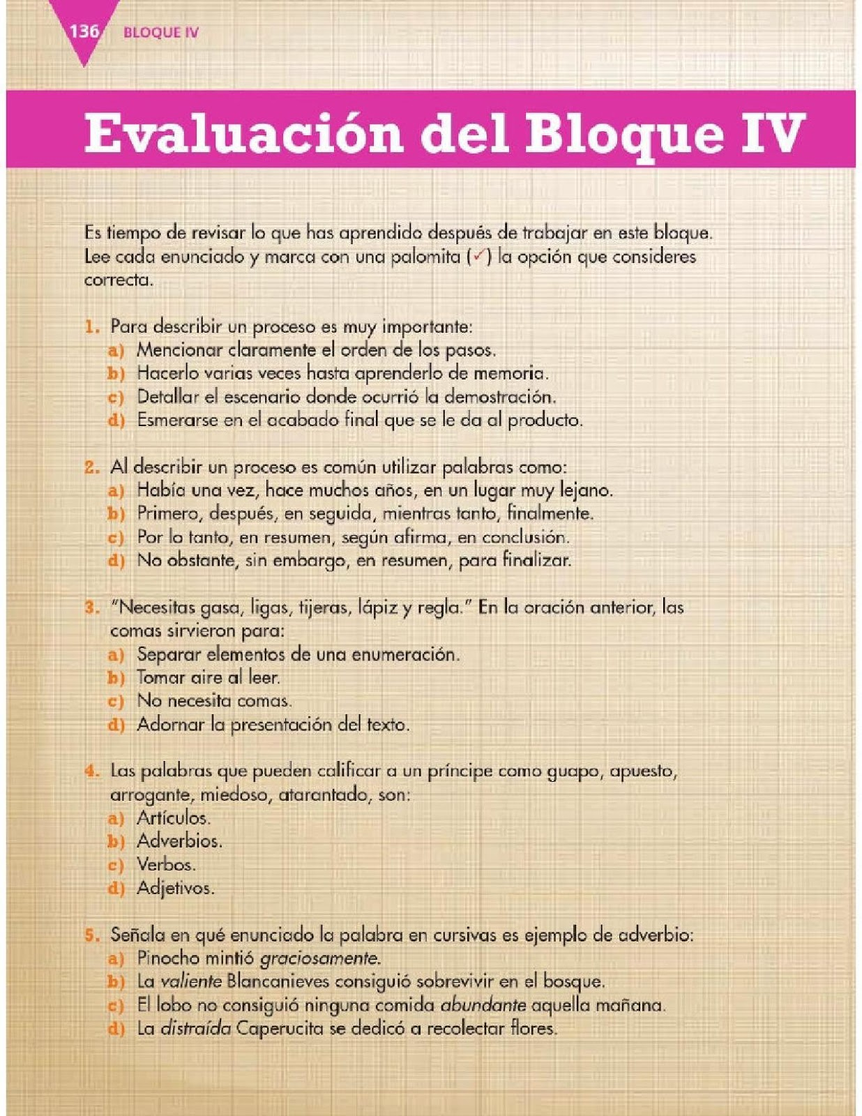 Evaluación del bloque IV - Español - 3ro. ~ Apoyo Primaria