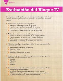 Apoyo Primaria Formación Español 3ro. Grado Bloque IV Evaluación del bloque IV