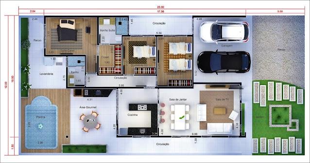 Planta casa térrea 3 quartos