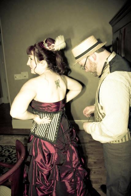 steampunk wedding, steampunk bride and groom, louise black corset, tremont house hotel, galveston, wedding