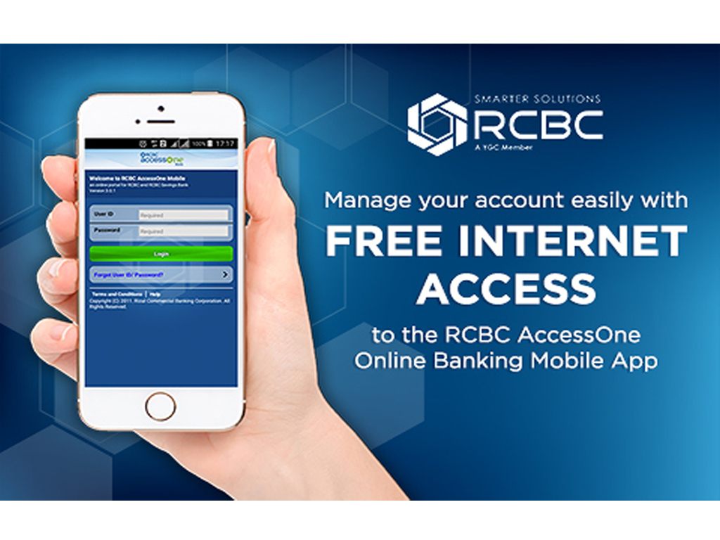 Free Internet Access to the RCBC AccessOne Online Banking App