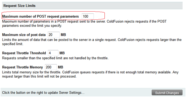 ColdFusion Tips: Post Parameters Exceeds Maximum Limit