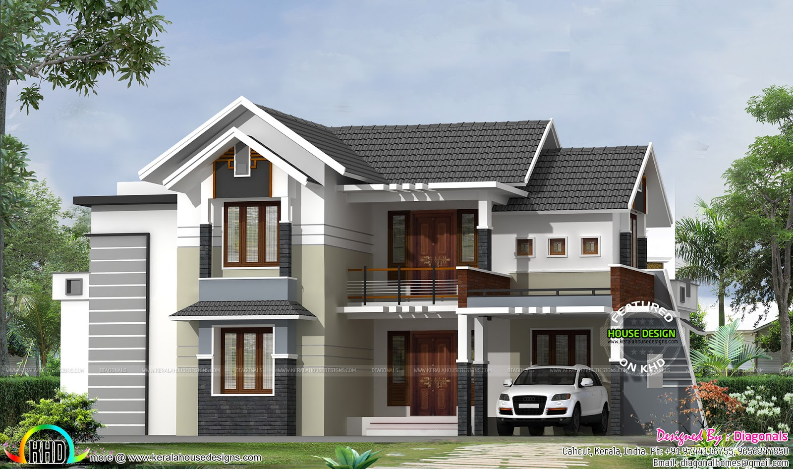 Modern mix traditional house architecture kerala home for Modern house building plans