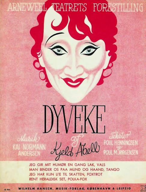 Revy-plakat 1940 - Dyveke af Kjeld Abell - Musik Kai Normann Andersen - Tekster Poul Henningsen og Poul M. Jørgensen - med billede af Liva Weel